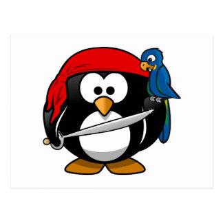 Pirate Penguin Cute Art Postcard
