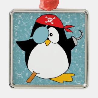 Pirate Penguin Drawing Metal Ornament