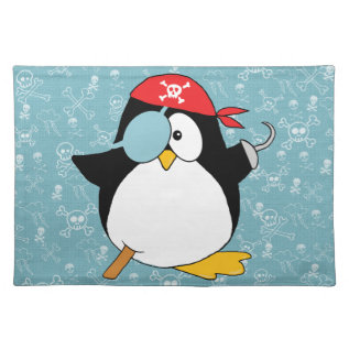Pirate Penguin Graphic Cloth Placemat at Zazzle