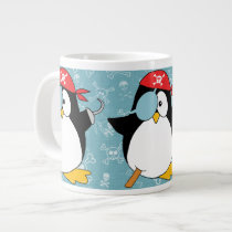 Pirate Penguin Graphic Pattern Giant Coffee Mug