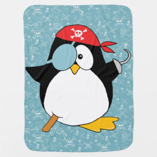 Pirate Penguin Graphic Receiving Blanket