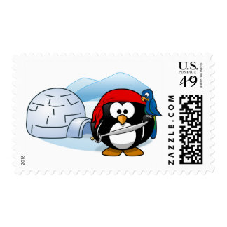 Pirate Penguin Igloo Arctic Parrot Stamp