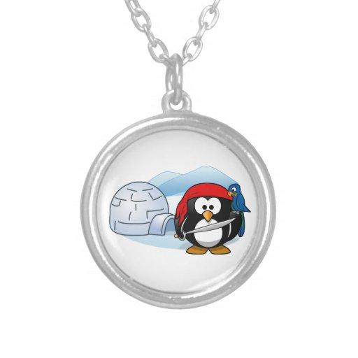Pirate Penguin In Antarctica Round Pendant Necklace