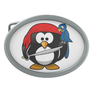 Pirate Penguin Oval Belt Buckle
