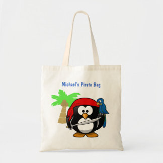 Pirate Penguin Parrot and Palm Optional Name Beach Tote Bag