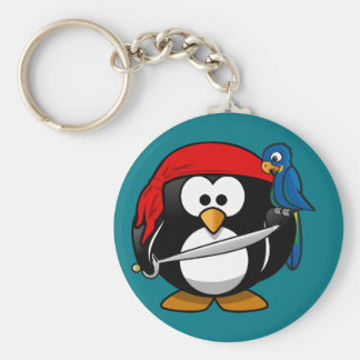 Pirate penguin parrot keychain