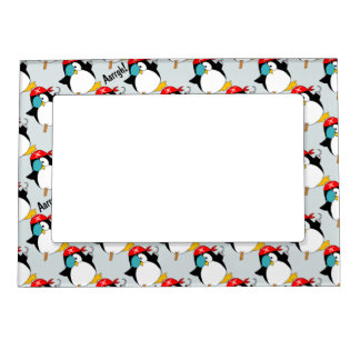 Pirate Penguin Pattern Skin Magnetic Picture Frame
