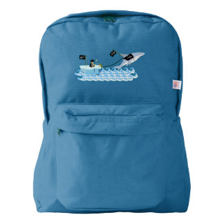 Pirate penguin with shark american apparel™ backpack