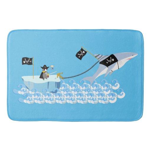 Pirate Penguin With Shark Bathroom Mat Zazzle
