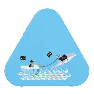 Pirate penguin with shark bluetooth speaker
