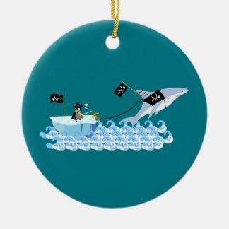 Pirate penguin with shark ceramic ornament