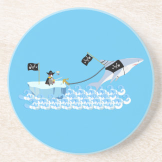 Pirate penguin with shark coaster
