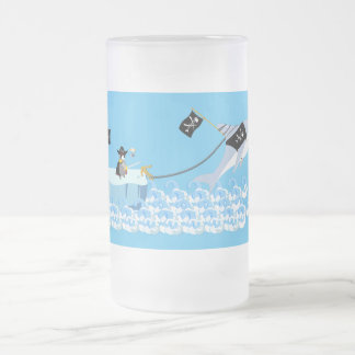 Pirate penguin with shark frosted glass beer mug