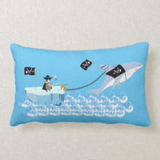 Pirate penguin with shark lumbar pillow