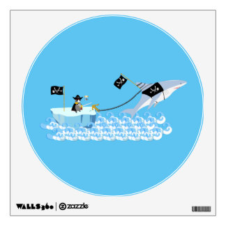 Pirate penguin with shark wall sticker