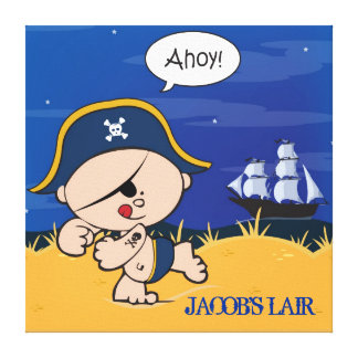 Pirate Personalized Boys Room Canvas Wall Art