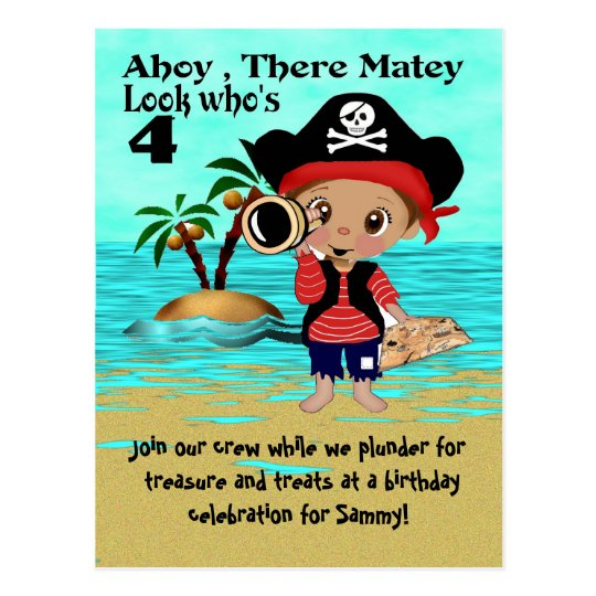 Pirate Pete Party Invitation Postcard