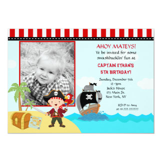 Pirate Photo Birthday Party Invitations