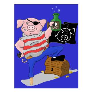 Pirate Pig Captain Cartoon Postcard