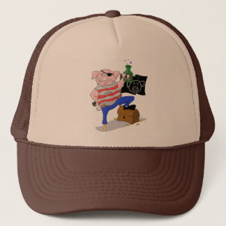 Pirate Pig Captain Cartoon Trucker Hat