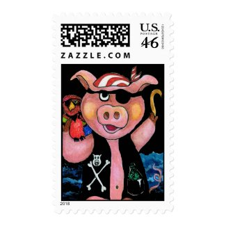 Pirate Pig & His Parrot Postage Stamp stamp
