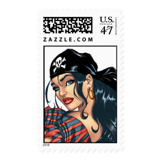 Pirate Pin-up Girl Customizable Postage by Al Rio
