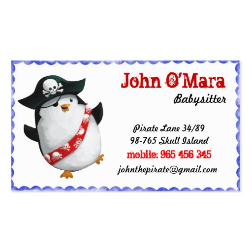 Pirate Pinguin Smart and Funny Business Card Templates