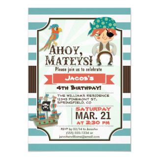 Pirate, Pirate Ship Theme Birthday Party 5x7 Paper Invitation Card