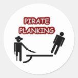 Pirate Planking Round Stickers
