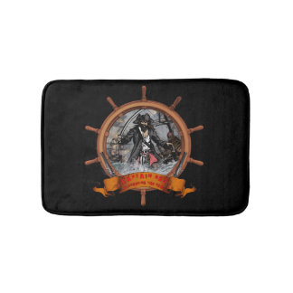 Pirate plundering the seas. bath mat