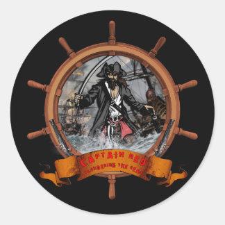 Pirate plundering the seas. classic round sticker