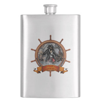 Pirate plundering the seas. flask