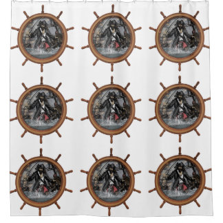 Pirate plundering the seas. shower curtain