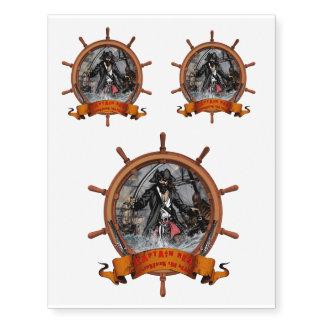 Pirate plundering the seas. temporary tattoos