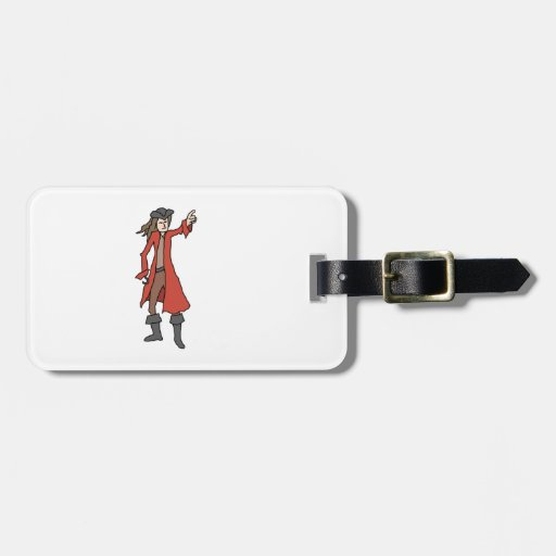 Pirate, pointing into the distance. tag for luggage