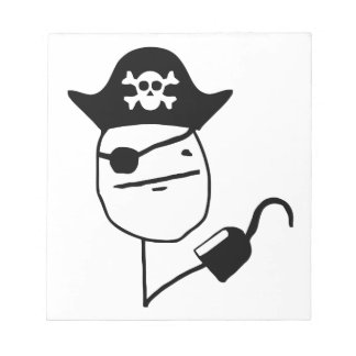 Pirate poker face - meme notepad