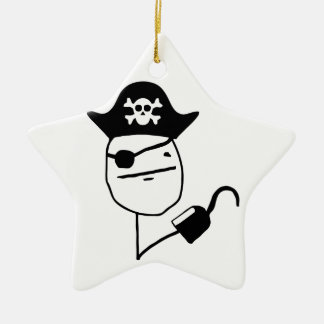Pirate poker face - meme Double-Sided star ceramic christmas ornament