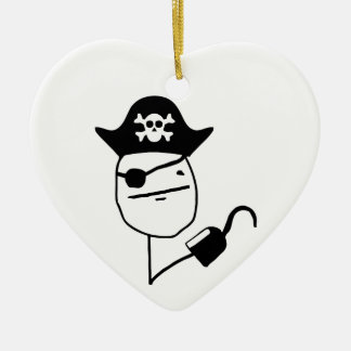 Pirate poker face - meme Double-Sided heart ceramic christmas ornament
