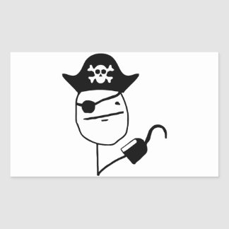Pirate poker face - meme rectangular sticker