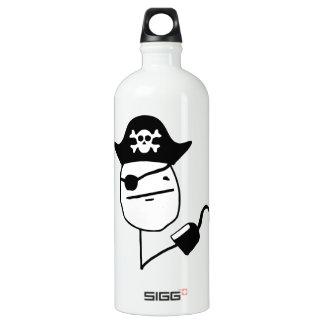 Pirate poker face - meme water bottle