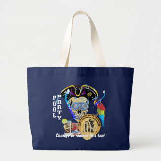 Pirate Pool Party IMPORTANT Read About Design Large Tote Bag