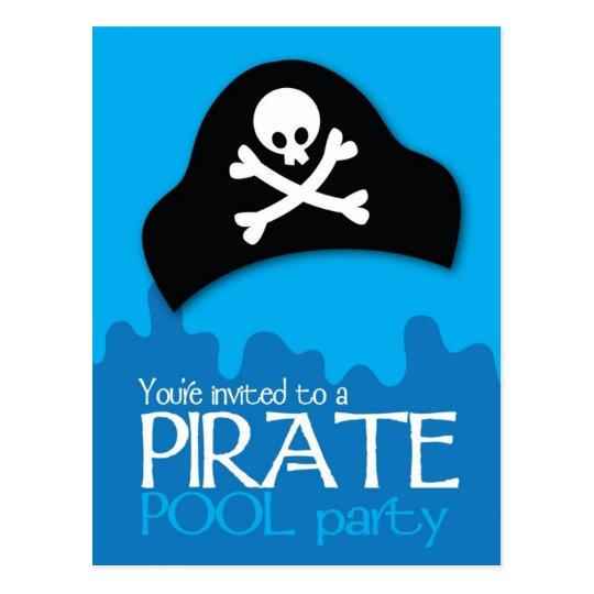 Pirate pool party invitation postcard
