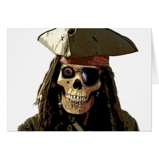 Pirate Posterized skull face Card