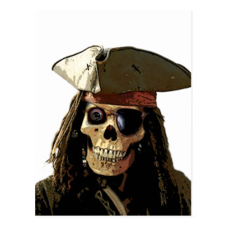 Pirate Posterized skull face Post Card