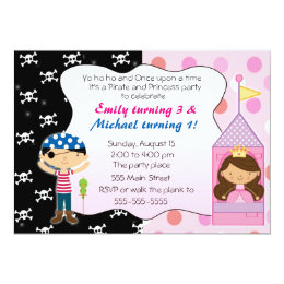Princess and pirate invitations announcements zazzle pirate princess kids birthday party invitations filmwisefo Choice Image
