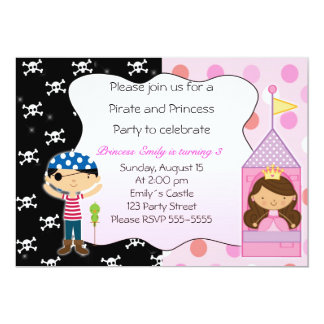 Pirate Princess Kids Birthday Party Invitations