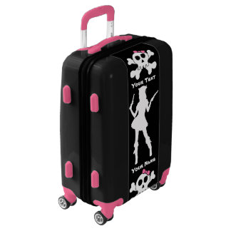 Pirate Princess Skull & Silhouette & Your Text Luggage
