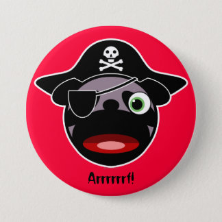 Pirate Pug Button