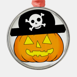 pirate pumpkin metal ornament
