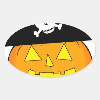 pirate pumpkin oval sticker
